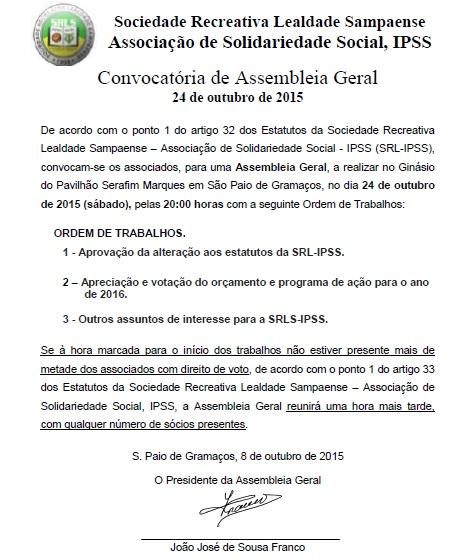 Convocatória de Assembleia Geral – 24/10/2015