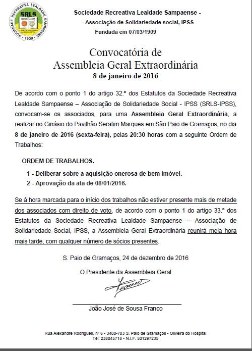 Convocatória da Assembleia Geral – 8/1/2016