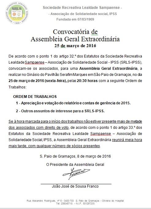 AG da SRLS-IPSS de 25/3/2016