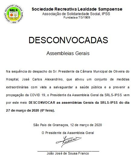 Assembleia Geral DESCONVOCADA