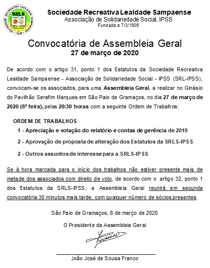 Assembleia Geral 27/3/2020