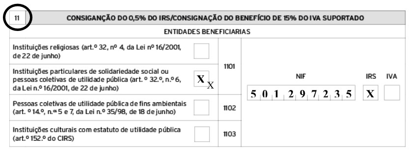 Agradecimento de donativo de 05% de IRS