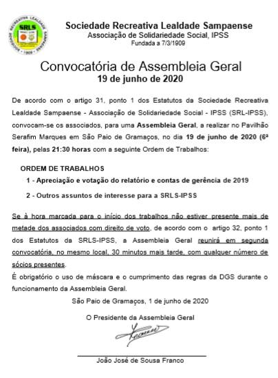 Assembleia Geral – 19/6/2020