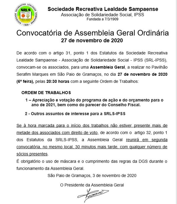 Assembleia Geral – 27/11/2020